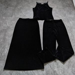 Vintage 3 piece set black velvet pants, skirt, top